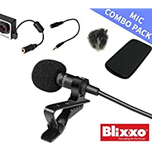 Lavalier Lapel Mic 6 in 1 combo pack: 3.5mm hands free mic, GoPro Adaptor, wind canceling cover, TRS adaptor - for YouTube, business meetings, iphone, music video, computer, video, and Go Pro