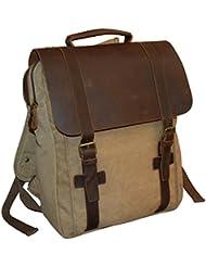 Vintage Canvas & Leather 16 Laptop Flapover Backpack Khaki