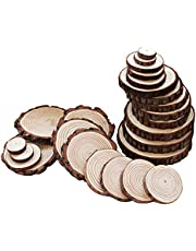 RayLineDo® Unfinished Natural Wood Slices Round Log Discs with Tree Bark Wood Pieces for DIY Craft Wedding