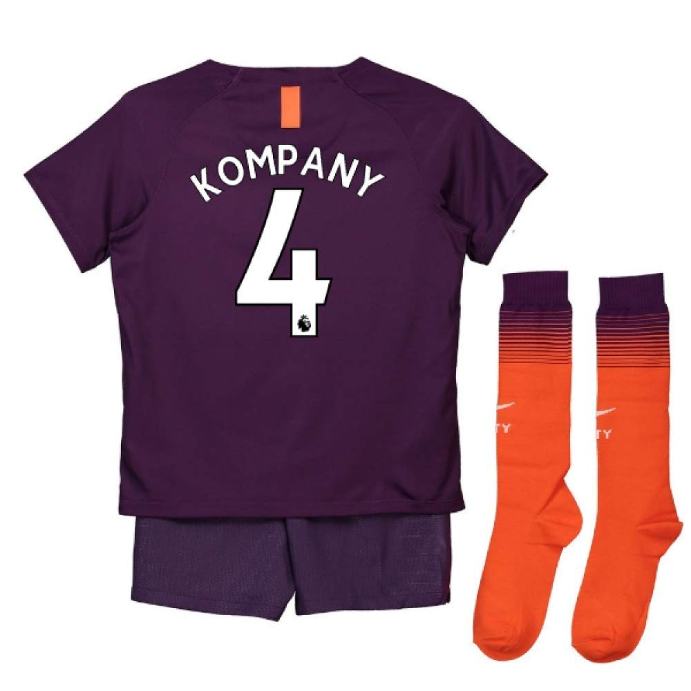 UKSoccershop 2018-2019 Man City Third Nike Little Boys Mini Kit (Vincent Kompany 4)