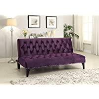 1PerfectChoice Transitional Living Room Sleeper Sofa Bed Futon Puple Velvet Upholstery Nailhead