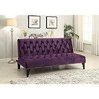 1PerfectChoice Transitional Living Room Sleeper Sofa Bed Futon Puple Velvet Upholstery Nailhead