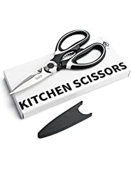 Sweese 3609 Kitchen Shears Multi-Purpose Utility Kitchen Scissors with Blade Cover - Stainless Steel Heavy Duty, Super Sharp, Black