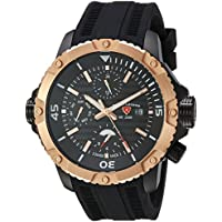 Swiss Legend Men's 'Seamonster' Swiss Quartz Stainless Steel and Silicone Casual Watch, Color:Black (Model: 10716SM-BB-01-RB)