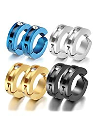 Oidea 8pcs Assorted Color Stainless Steel Mens Womens Clip On Earrings Hoop Huggie Non-Piercing Hypoallergenic