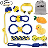 AILUKI Dog Rope Toy 10 Pack Sets Squeaky Toys | Rope Toys | Plush Games | Chewing Ropes | Balls | Rubber Bone | Carry Bag,Variety Playing Set Small to Medium Dogs,Durable Washable