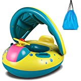 Baby Pool Float, Topist Baby Inflatable Swimming Ring with Adjustable Sun Shade Canopy Safety Seat for Age 6-36 Months Toddlers with Carry Bag