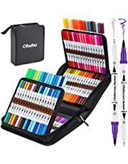 100 Colors Art Markers Set, Ohuhu Dual Tips Coloring Brush Fineliner Color Marker Pens, Water Based Marker for Calligraphy Drawing Sketching Coloring Bullet Journal, Thanksgiving Day Gift