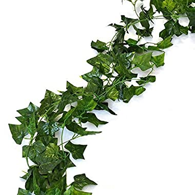 75 feet - 12 English Ivy Silk Greenery Wedding Party Garlands by CG TECH