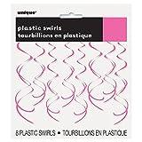 "26"" Plastic Hanging Swirl Hot Pink Decorations, 8ct"