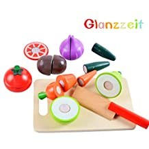 Glanzzeit Children Cutting Fruits Vegetables Wooden Toys Food Pretend Play Educational Toys Set of 16 Pcs