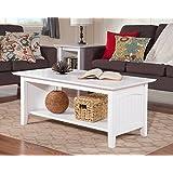 Atlantic Furniture AH15302 Nantucket Coffee Table Rubberwood, White