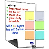 Multi-Purpose Magnetic dry erase whiteboard (16x12in.) with 6pcs re-usable magnetic memo note pad by Smart Fish - Neon color sticky notes design pads for to do list, personal reminder and more. FREE dry erase marker.