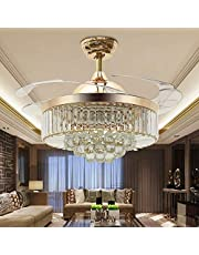 """42"""" Reversible Ceiling Fans Chandeliers Modern Retractable Ceiling Fan with LED Light and Remote, Invisible Crystal Ceiling fan with 4 Clear ABS Blade, Diningroom Ceiling Light Kits with Fans (Gold)"""