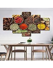 ZYUN Mural Póster Tema De Cocina HD Print Varios Condimentos Lona Pinturas Pared Arte 5 Paneles Ilustraciones Imágenes Decoración,B,20×30×2+20×40x2+20x50×1