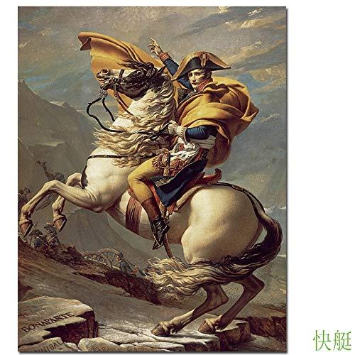 baodanla Pintura al oleo sin Marco Quadros De Parede Cuadros Micro Spray para copiar el clasico Famoso Ng Napoleon cruzando los Alpes Pic50x70cm