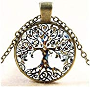 Hithop 1pc Vintage Ladies' Necklace the Tree of Life Glass Gem Pendant Long Chain Blessing Neckl