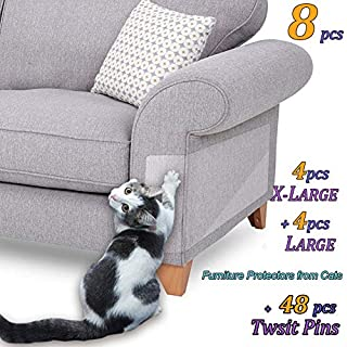 "8 Pcs Furniture Protectors from Cats, Cat Scratch Deterrent, Couch Protector 4 Pack X-Large (17""L 12""W) + 4 Pack Large (18""L 9""W) Cat Repellent for Furniture, Stop Pets from Scratching Furniture Couch"