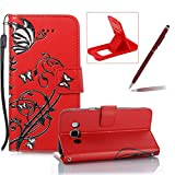 Strap Leather Case for Samsung Galaxy J5 2016 J510,Portable Wallet Case for Samsung Galaxy J5 2016 J510,Herzzer Bookstyle Retro Brilliant Butterfly Flower Pattern Stand Magnetic Smart Leather Case with Soft Inner for Samsung Galaxy J5 2016 J510 + 1 x Free Red Cellphone Kickstand + 1 x Free Claret-Red Stylus Pen - Red
