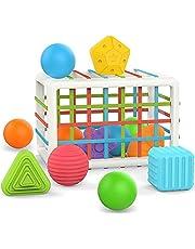 Vormsorteerder voor 1 2 3 4 jaar oude peuters - kubus sensorische sortering babyspeelgoed met elastische banden doos - ontwikkeling motoriek vroeg leren educatief geschenk