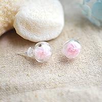 un par Rosa Babysbreath Floración Flores reales Bola de cristal Plata esterlina 925 Stud Pendientes
