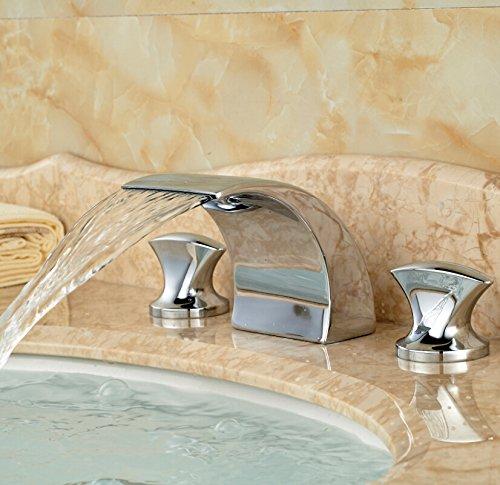 5151buyworld hochwertig Wasserhahn, Schiff Wasserfall Waschbecken Wasserhahn-Griffe mit Halterung-Mixer-Wasserhahn, Chrom-finishfor Küchen-gaden