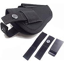Thiroom Tactical Waistband Nylon Black Holster Waist Belt Handgun Right Hand Left Hand Interchangeable Gun Holster for Medium Compact Subcompact Hand Guns with Magazine Slot