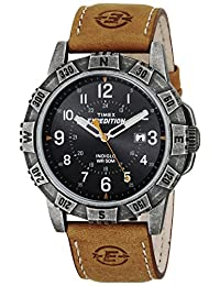 Timex Men's T499919J Expedition Rugged Metal Field Watch with Leather Band