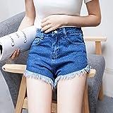 YFF High waist jeans shorts slim loose big code student Pants,S