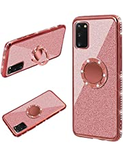 Cestor Ring Holder for Samsung Galaxy A21s Glitter Silicone Phone Case Bling Protective Bumper with Kickstand Diamond Plating Frame TPU Case for Samsung Galaxy A21s,Rose Gold