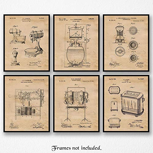 Vintage Kitchen Appliances Patent Art Poster Prints, Set of 6 (8×10) Unframed Photos, Great Wall Art Decor Gifts Under 20 for Home, Office, Studio, Shop, Student, Teacher, Gourmet & Culinary Fan