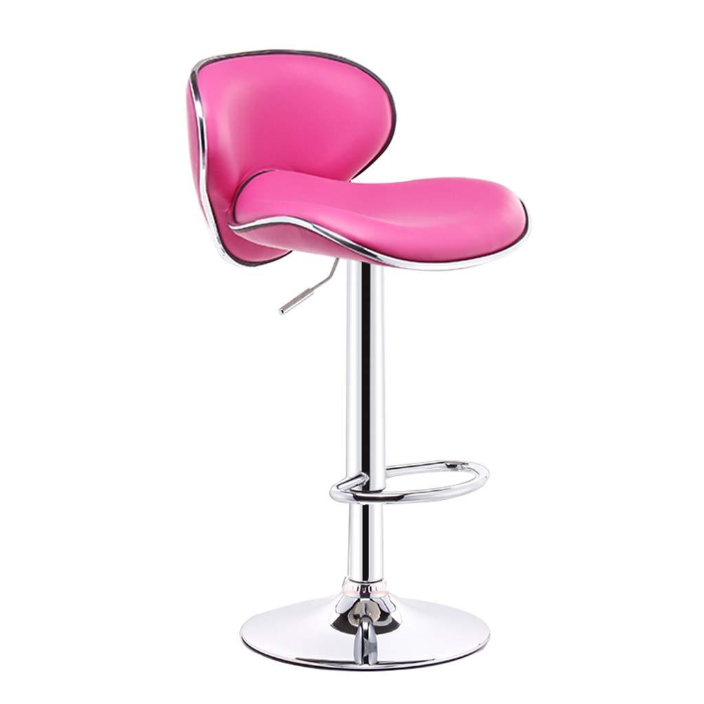 pink red Modern Imitation Leather Bar Stool Metal Swivel Chair Bar Stool orange Kitchen Stool Breakfast Bar Chair Backrest Adjustable 60-80CM (color   orange)