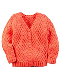 Carter's Baby Girls' Cable Knit Textured Cardigan Sweater; Orange (3M)
