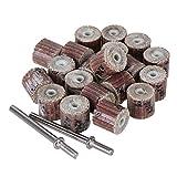 CNBTR 3x10mm Brown Cylindrical Sandpaper Grinding Head 240# Abrasive Flap Wheels Pack of 20