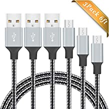Micro USB Cable BUDGET & GOOD® 3 Pack 6FT Nylon Braided USB Charging Cable High Speed Cell Phone USB Data Sync Charger Cable Wire for Samsung LG Nexus Sony Android Phones Tablets - Silver Black