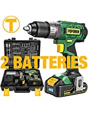 Taladro Batería 18V, POPOMAN Taladro Percutor a Batería, 105PCS accesorios, 2 Baterías 2.0Ah, 2 Velociadades, Par 45N.m, 21+3 Ajuste de par, Cargador Rapido, Caja Compacta-BHD700B