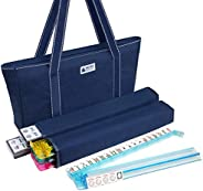 American Mah Jongg Set - 166 Premium White Tiles, 4 All-in-One Rack/Pushers, Blue Canvas Bag