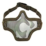 UNIQUEBELLA Tactical Airsoft Mask Striker Steel Half mask Face Guard Protector Tan camouflage green