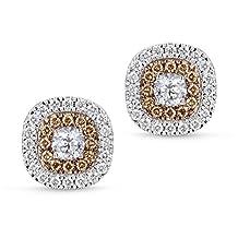 1.00 Carats Diamond Double Halo Earrings Screw Backs 14K White & Chocolate Gold // Boucles d'oreilles en or blanc/marron 14 ct - diamant/halo 1 ct - G-H/I1