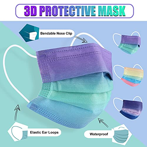 Kids Size Disposable Face Masks, Gradient Pattern Mask 3 ply for Boys Girls, Cute Design Children Mask with Variety Pack for School Kiddo Toddler, Colored Printed Small Breathable Soft Sport Face Covering for Petite Face- 30 PCS
