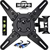 HIPPO TV Wall Mount Bracket With Full Motion Swing Out Tilt for Most 32 39 40 42 43 45 48 49 50 55 LED LCD OLED Plasma Flat Screen Monitor Up To 88 Lbs VESA 400x400mm 6.5 ft HDMI Cable