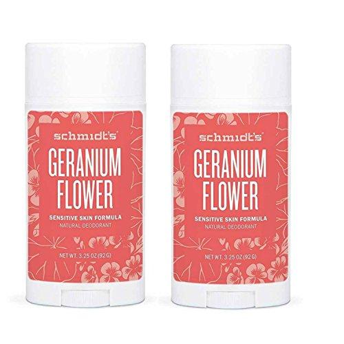 Schmidt's Geranium Flower Sensitive Skin Deodorant Stick Odor Protection and Wetness Relief Aluminum-Free 3.25 oz/each (2 Pack)