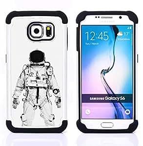 For Samsung Galaxy S6 G9200 - ASTRONAUT COSMONAUT WHITE BLACK Dual Layer caso de Shell HUELGA Impacto pata de cabra con im??genes gr??ficas Steam - Funny Shop -