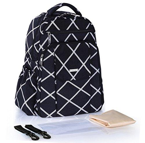 Ligera cambiador de pañales bolsa, mochila, Gran Capacidad Bolso cambiador, plumas patrón, cómodo y conveniente para Papá y Mamá al aire libre, bolsa de viaje, color azul negro negro negro