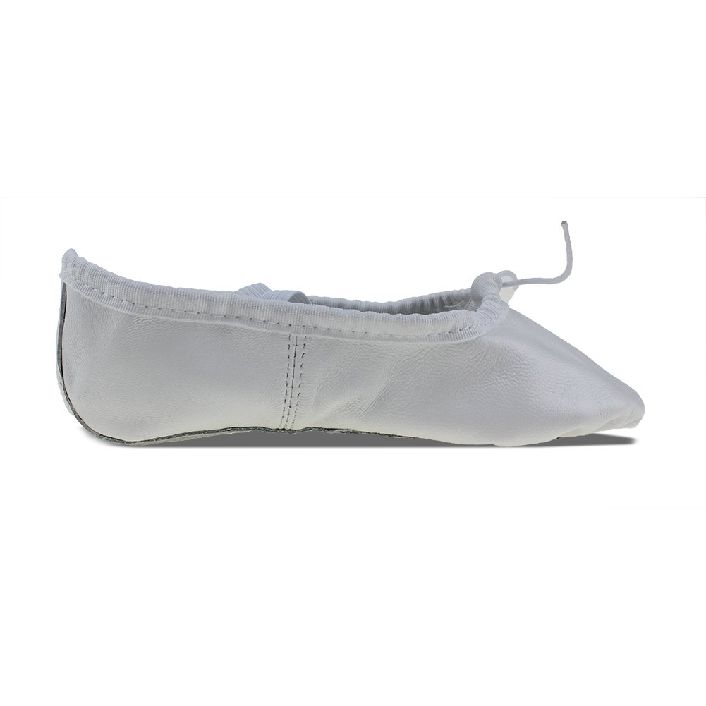 MSMAX White Leather Full Sole Casual Slipper Ballet Flat,Big Kid,7M US