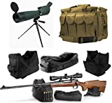25-75x75 Rubber Armored Sniper Spotter Hunting Spotting Scope + Tripod + Sunshade + QD Shooting Rifle Shotgun & Muzzle Loader Steady Shooter Support Bag Set + Tan Range Bag with Magazine Ammo Pouches
