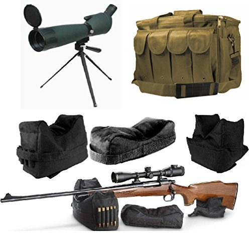 25-75x75 Rubber Armored Sniper Spotter Hunting Spotting Scope + Tripod + Sunshade + QD Shooting Rifle Shotgun & Muzzle Loader Steady Shooter Support Bag Set + Tan Range Bag with Magazine Ammo Pouches by Ultimate Arms Gear