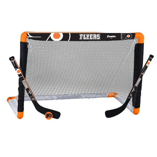 (Franklin Sports Philadelphia Flyers Mini Hockey Knee Hockey Goal, Ball & 2 Stick Combo Set - 28