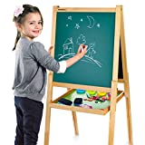 Kids Children's Wooden Double Sided Black and White Board Table Easel Merkell with Accessories for Drawing with Magnetic Letters with Adjustible Hight by Leomark, Fun Educative Learning Pretend Play Game Toy for Nursery and Baby Toddler Junior Bedrooms