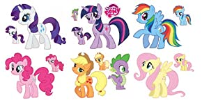 My Little Pony Friendship Is Magic Set Of 7 Removable Wall Stickers With  Free Mini Set Of Young Ponies Part 56
